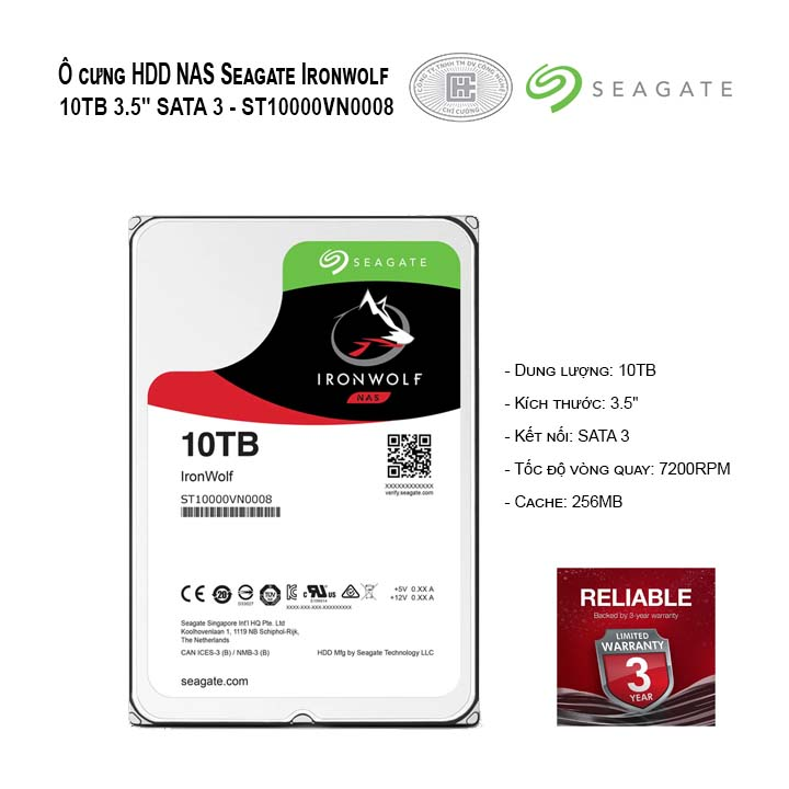 Ổ cứng HDD NAS Seagate IRONWOLF 10TB 3.5