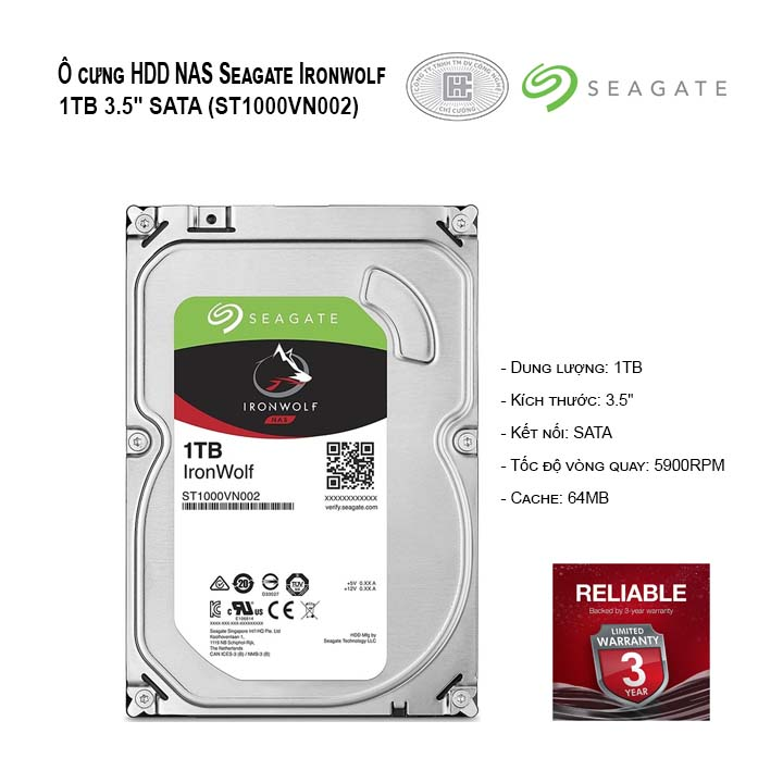 Ổ cứng HDD NAS Seagate Ironwolf 1TB 3.5