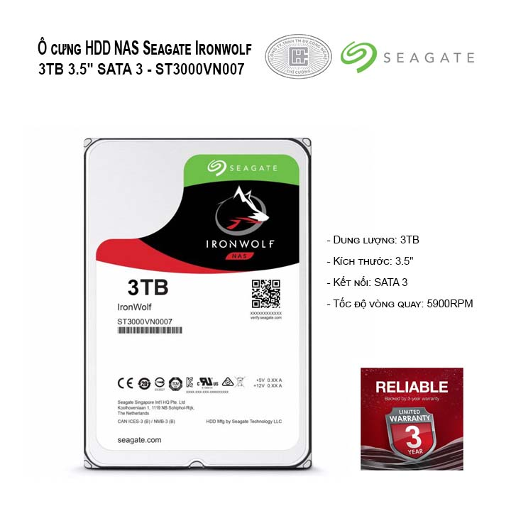 Ổ cứng HDD NAS Seagate Ironwolf 3TB 3.5