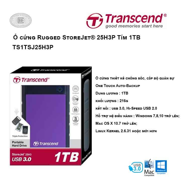 Ổ cứng Transcend Rugged StoreJet® 25H3P 1TB Tím USB 3.0 TS1TSJ25H3P