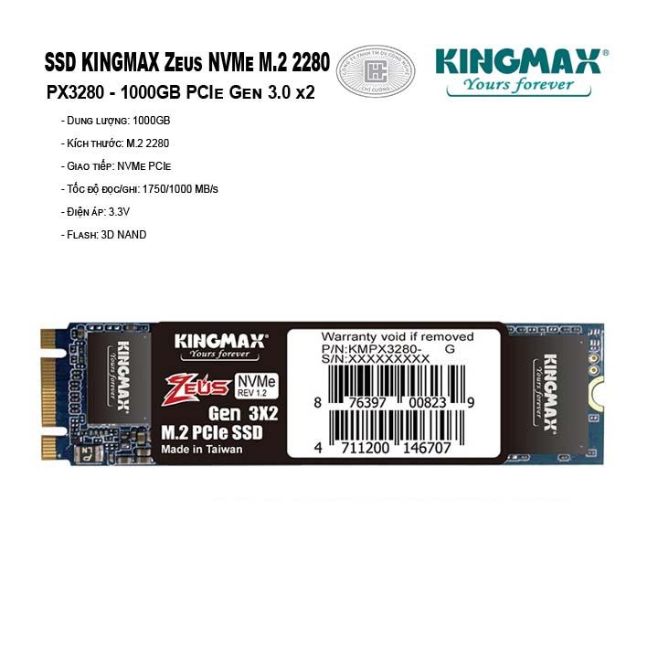 Ổ cứng SSD KINGMAX Zeus 1TB NVMe M.2 2280 PCIe Gen 3.0 x2 - PX3280