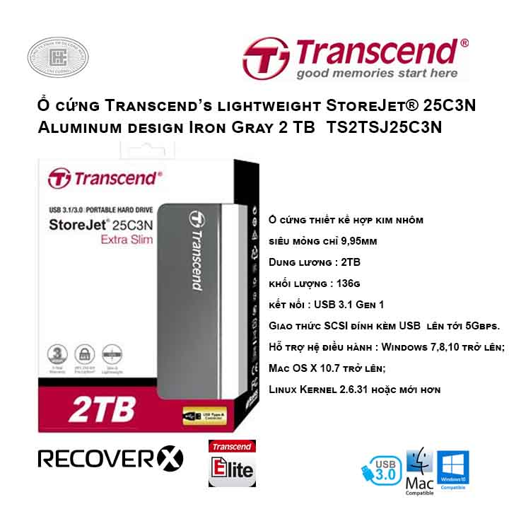 Ổ cứng Transcend's lightweight StoreJet® 25C3N 2TB Aluminum design Iron Gray TS2TSJ25C3N