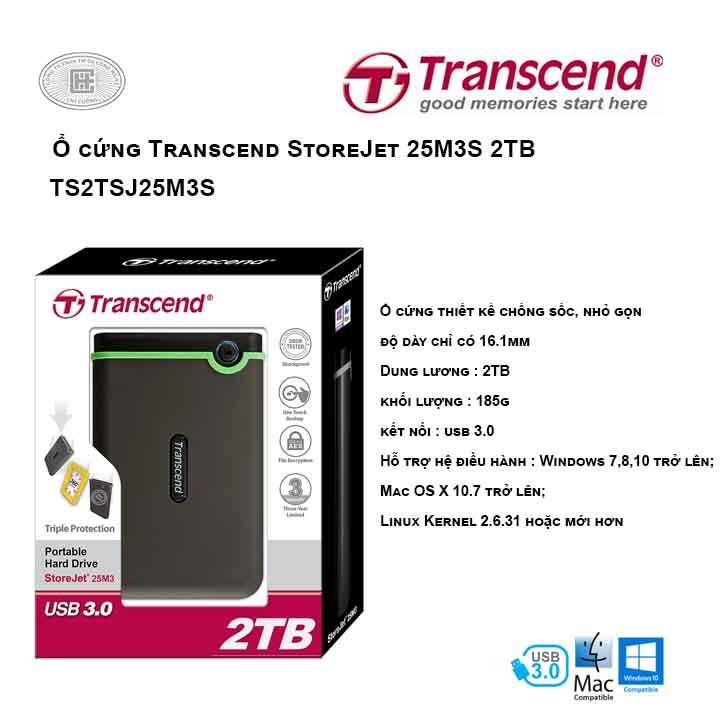 Ổ cứng Transcend StoreJet 25M3S 2TB TS2TSJ25M3S