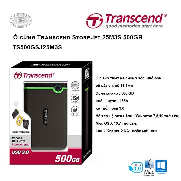 Ổ cứng Transcend StoreJet 25M3S 500GB TS500GSJ25M3S