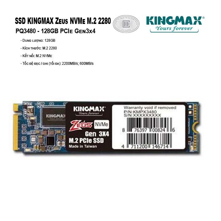 SSD Kingmax Zeus 128GB M.2 2280 PCIe Gen3x4 - PQ3480