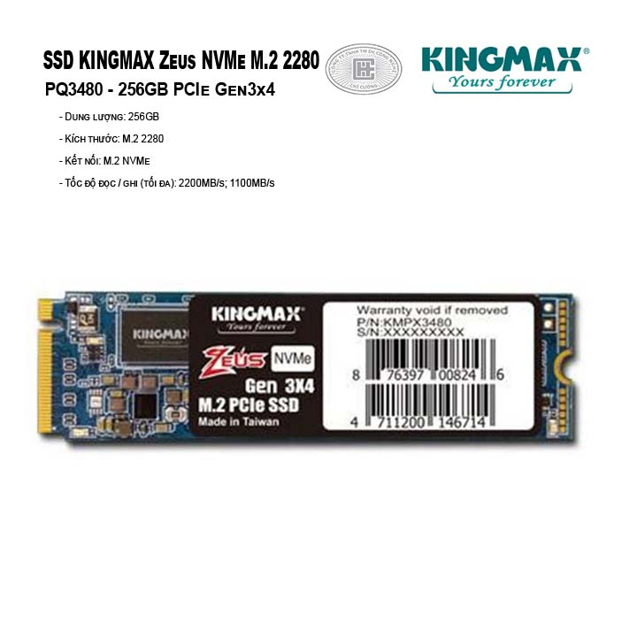 SSD Kingmax Zeus 256GB M.2 2280 PCIe  Gen3x4 - PQ3480