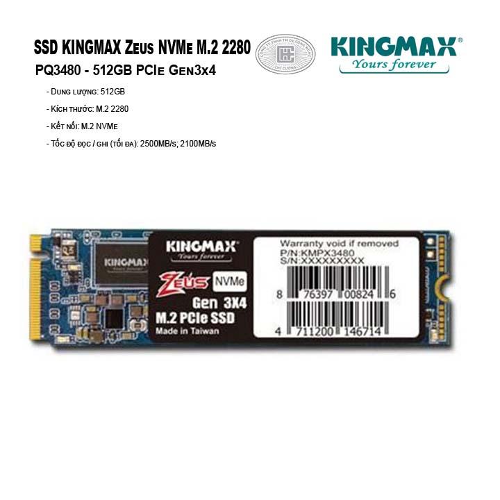 SSD Kingmax Zeus 512GB M.2 2280 PCIe Gen3x4 - PQ3480