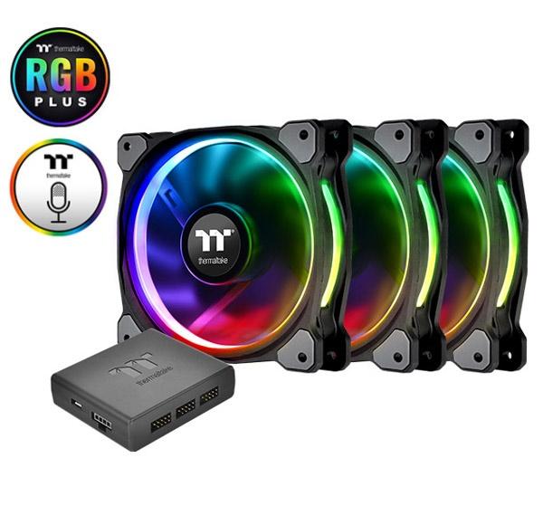 Fan case THERMALTAKE New Pure Plus RGB 12 Radiator Fan TT Premium Edition  3Fan/Pack/12025/PWM 500~1500rpm/LED Software Control/Controler