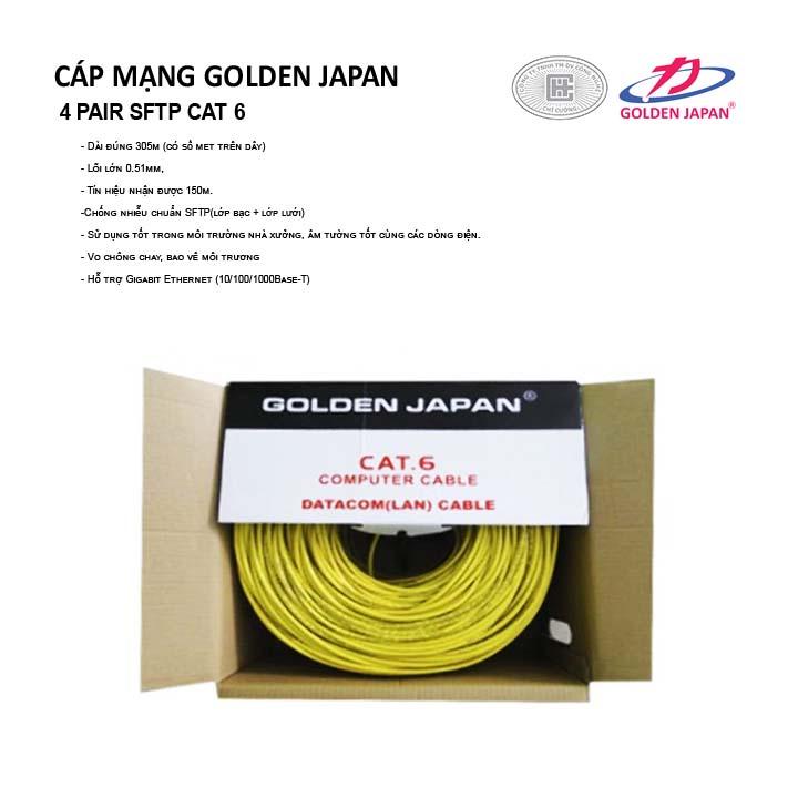 CÁP MẠNG GOLDEN JAPAN 4 PAIR SFTP CAT 6( Màu Vàng )