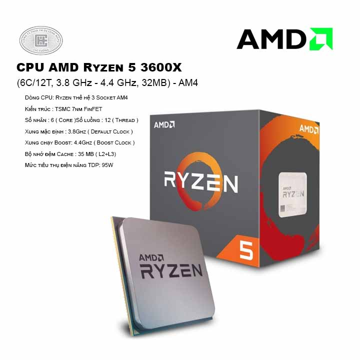CPU AMD Ryzen 5 3600X (6C/12T, 3.8 GHz - 4.4 GHz, 32MB) - AM4