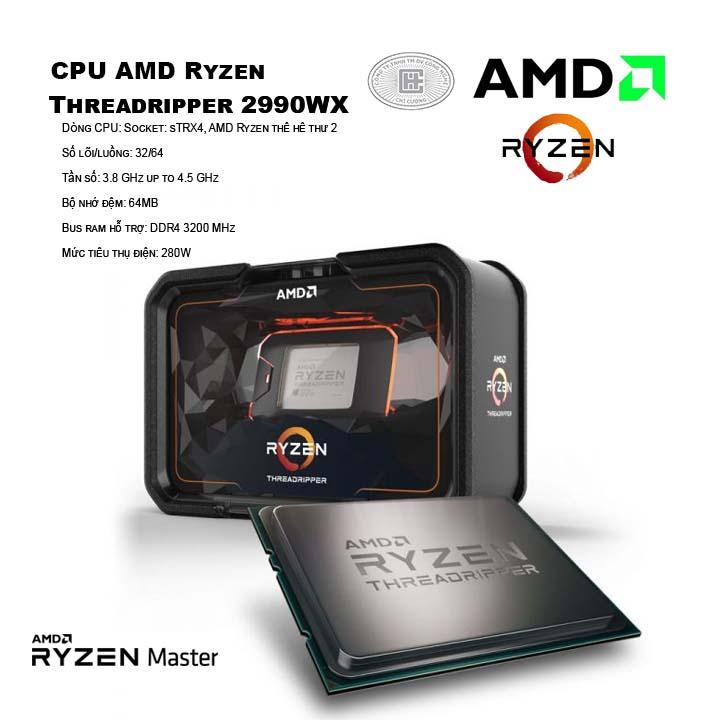 CPU AMD Ryzen Threadripper 2990WX (32C/64T, 3.0 GHz - 4.2 GHz, 64MB) - TR4