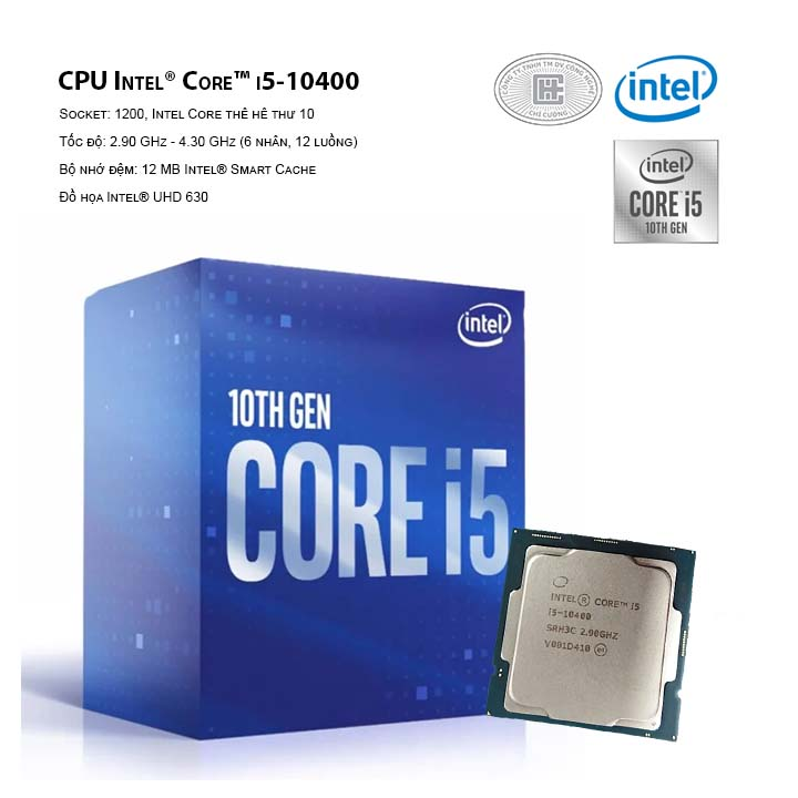 CPU Intel Core i5-10400 ( LGA 1120/2.9 GHz Up to 4.30 GHz/ 6C12T/ 12MB/  Comet Lake)