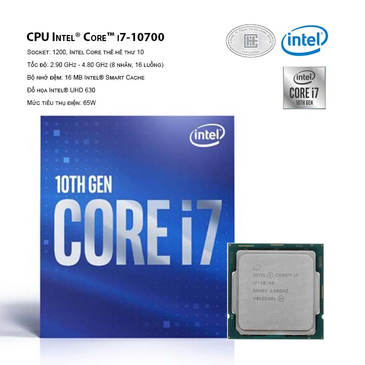 CPU Intel Core i7-10700 (16M Cache, 2.90 GHz up to 4.80 GHz, 8C16T, Socket 1200, Comet Lake-S)