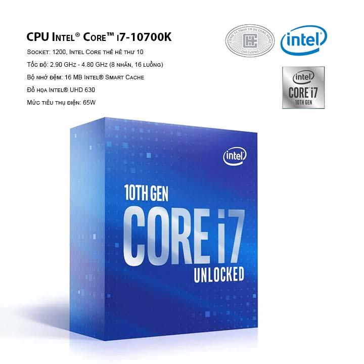 CPU Intel Core i7-10700K (16M Cache, 3.80 GHz up to 5.10 GHz, 8C16T, Socket 1200, Comet Lake-S)