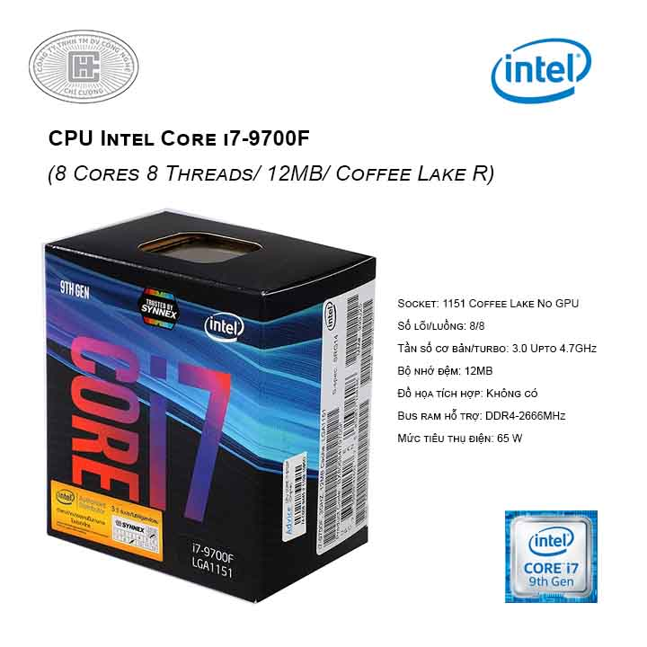 CPU Intel Core i7-9700F (3.0 Upto 4.7GHz/ 8C8T/ 12MB/ Coffee Lake-R) 1151-v2