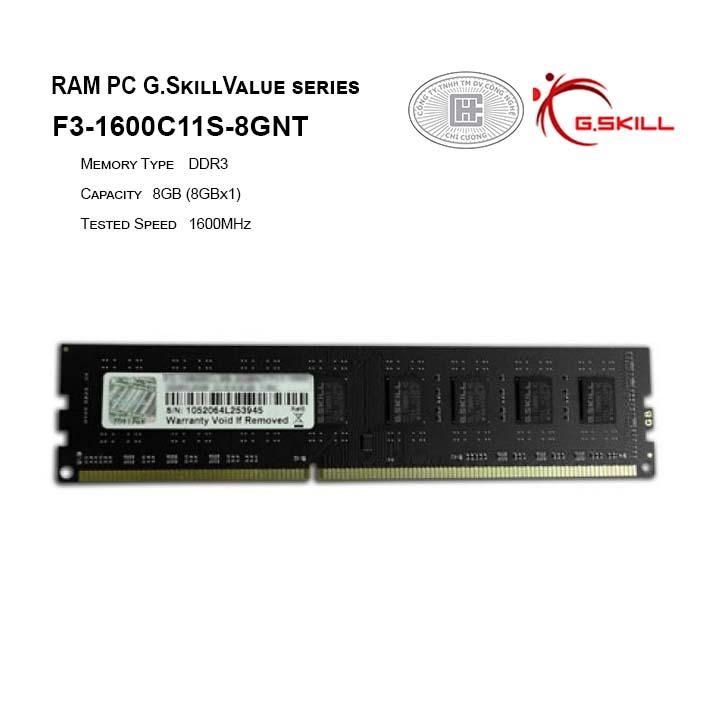 RAM PC G.SKILL NT DDR3 - 8/1600 - F3-1600C11S-8GNT
