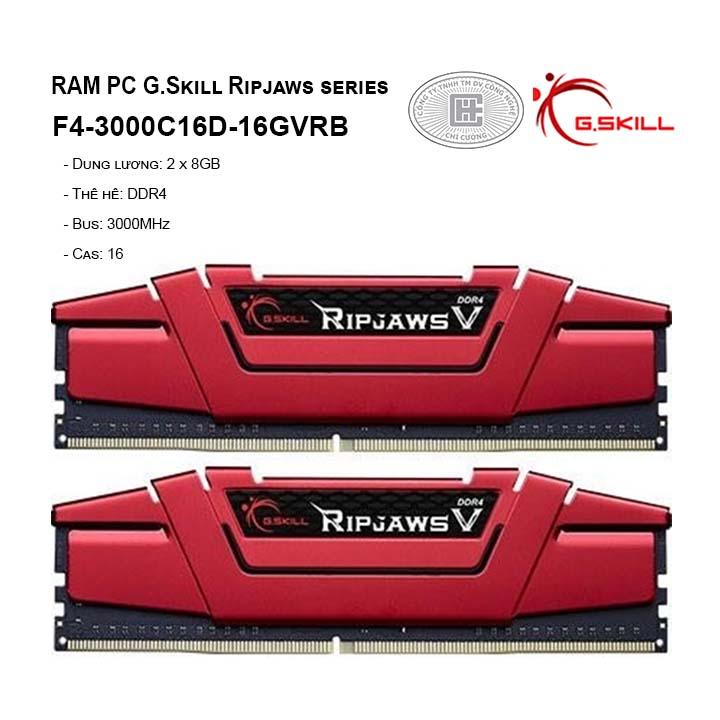 RAM G.SKILL RIPJAWS V-16GB (8GBx2) DDR4 3000MHz- F4-3000C16D-16GVRB