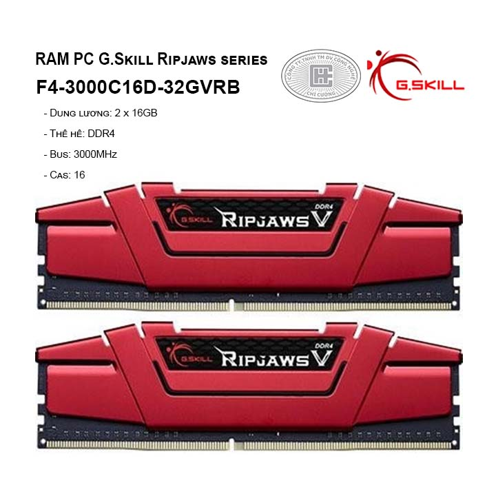 RAM G.SKILL RIPJAWS V-32GB (16GBx2) DDR4 3000MHz- F4-3000C16D-32GVRB