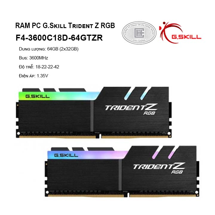 RAM G.skill Trident Z RGB 64GB (2x32GB) DDR4-3600MHz -F4-3600C18D-64GTZR