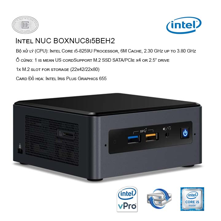 Máy tính bộ PC Intel NUC BOXNUC8i5BEH1 ( Intel Core i5-8259U/ Intel Iris Plus Graphics 655 )