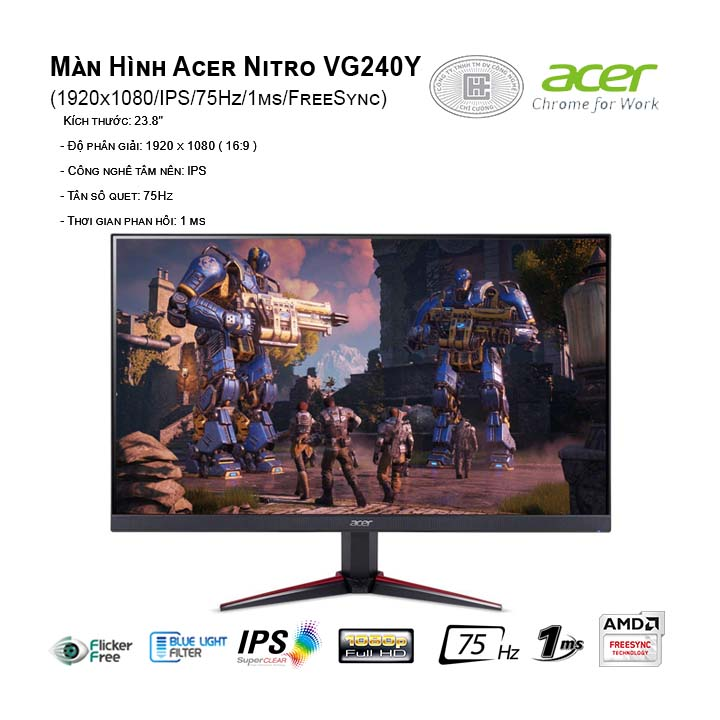Màn Hình Acer Nitro VG240Y (1920x1080/IPS/75Hz/1ms/FreeSync)