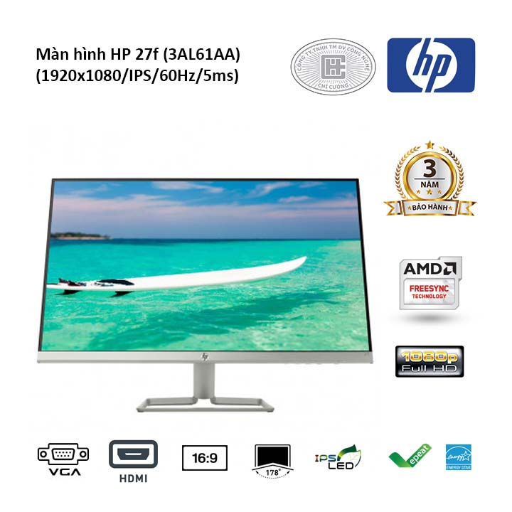 Màn hình HP 27F 27 inhces 3AL61AA (1920x1080/IPS/60Hz/5ms)