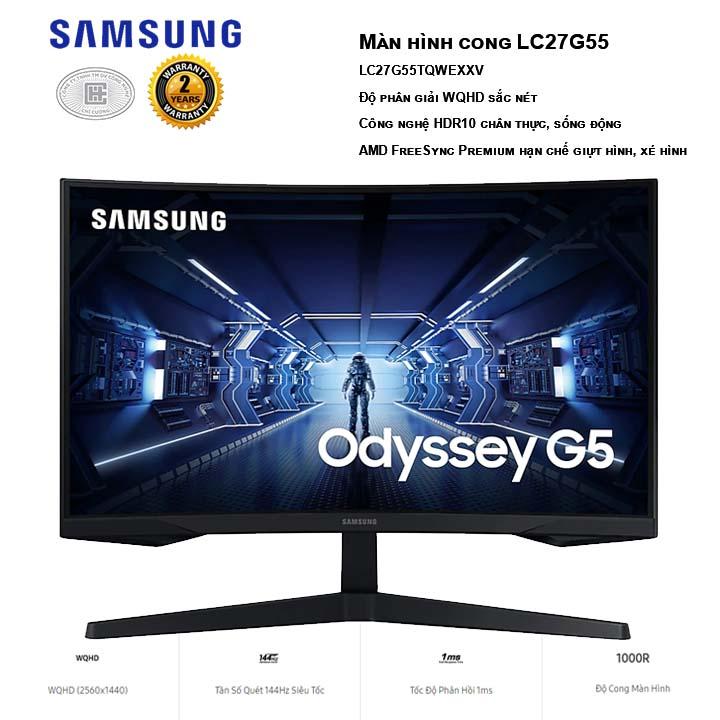 Màn hình Samsung Odyssey G5 LC27G55TQWEXXV WQHD 2K 144Hz 1ms HDR10 Freesync