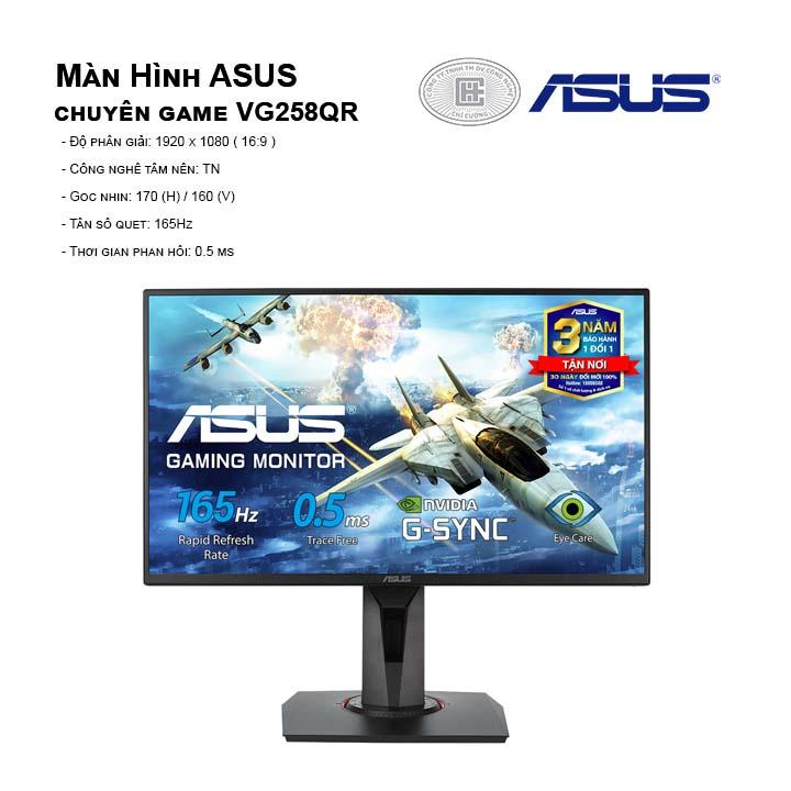 Màn hình ASUS VG258QR (FullHD/TN/165Hz/0,5ms/G-SyncCompatible)