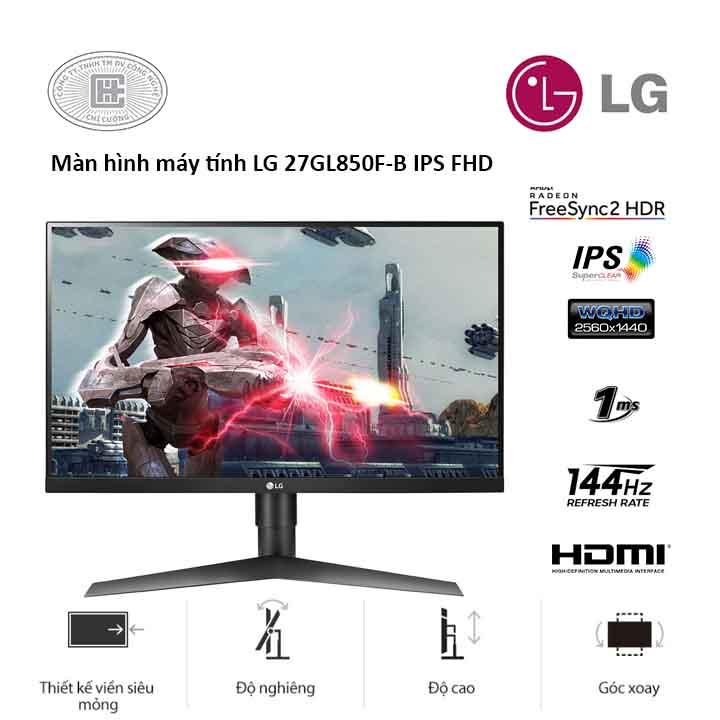Màn Hình LG 27GL850-B.ATV - 27 inch 2560 x 1440/ IPS/ 144Hz/ 1 ms/ FreeSync)