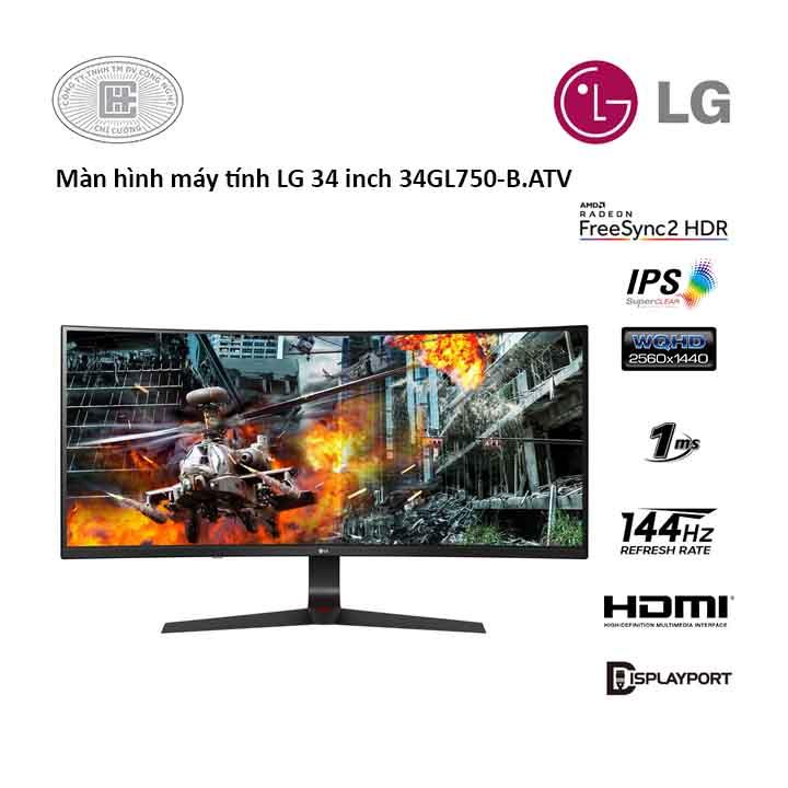 Màn hình LG 34GL750-B.ATV (34 inches/ 2560 x 1080/ IPS/ 144Hz/ 1 ms/ G-Sync)
