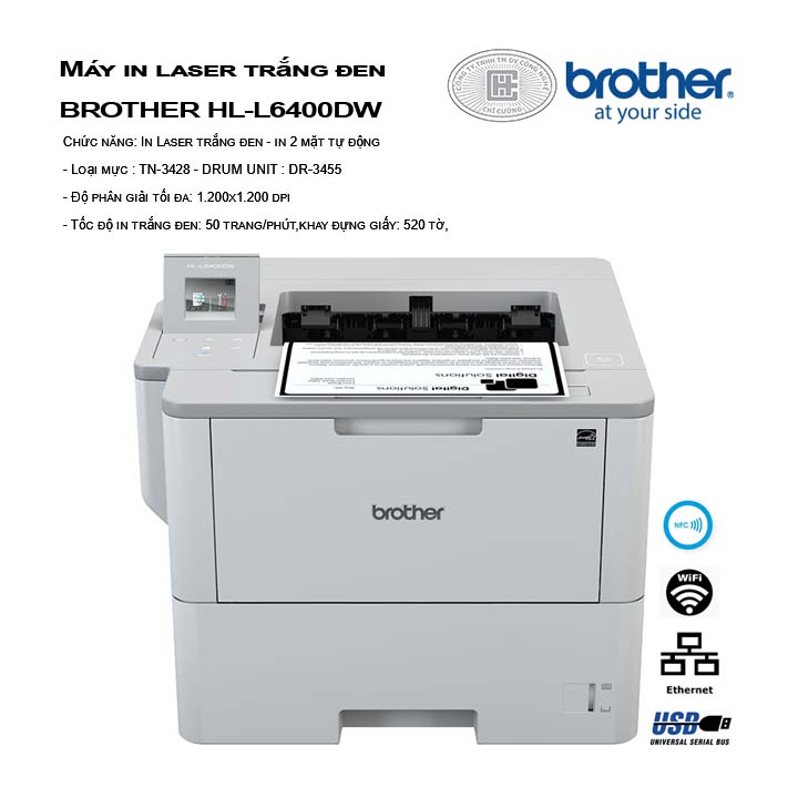 Máy in laser trắng đen BROTHER HL-L6400DW  - Wifi
