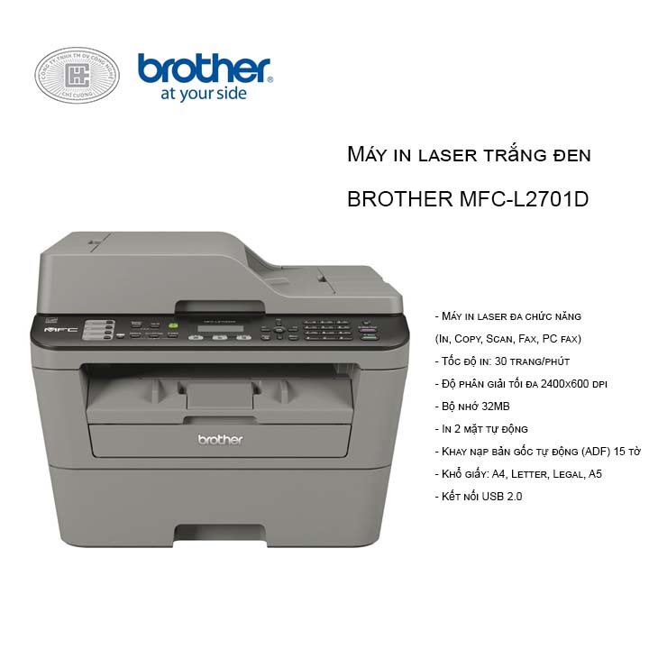 Máy in Brother MFC-L2701D Đa chức năng (in , scan , coppy, fax , in 2 mặt)
