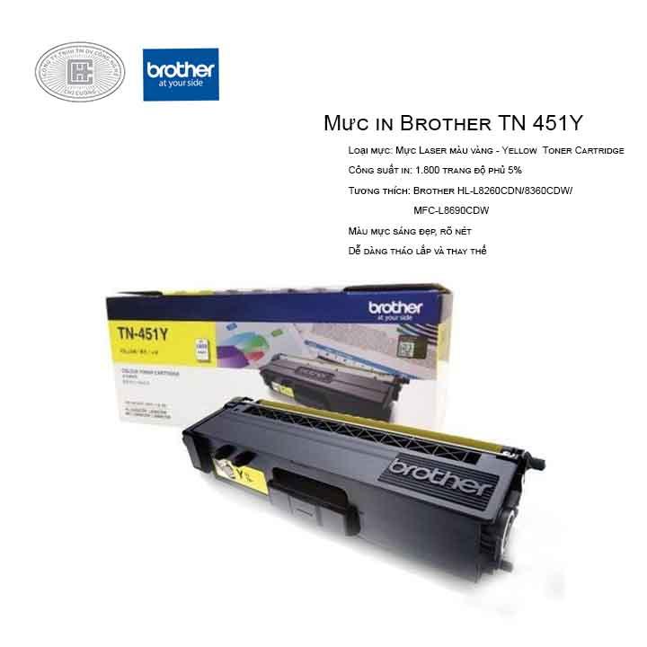 Mực in laser màu vàng Brother TN-451Y (Cho Máy HLL-8260CDN, L8360CDW, MFC-8690CDW)