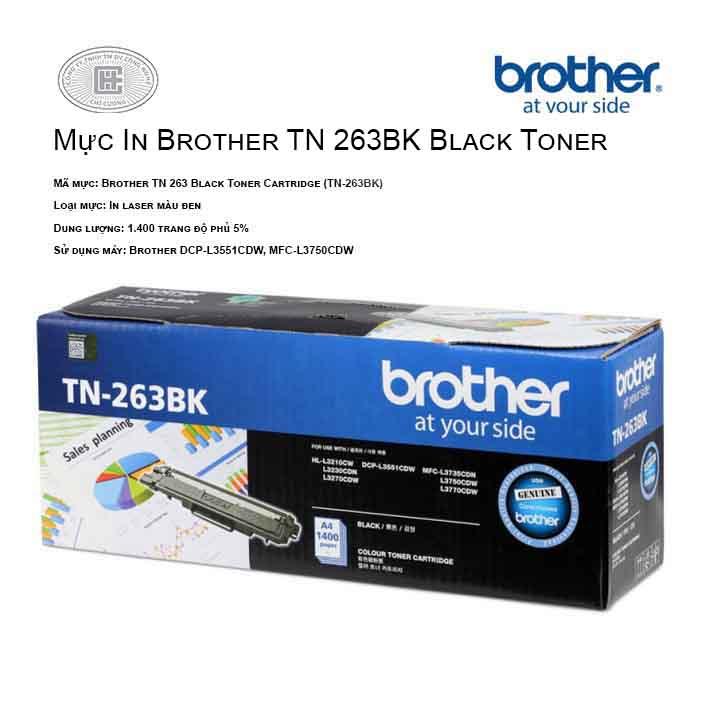 Mực in Brother TN 263BK màu đen ( cho máy  HL-L3230CDN, MFC-L3770CDW, MFC-L3750CDW, DCP-L3551CDW, HL-L3270CDW )