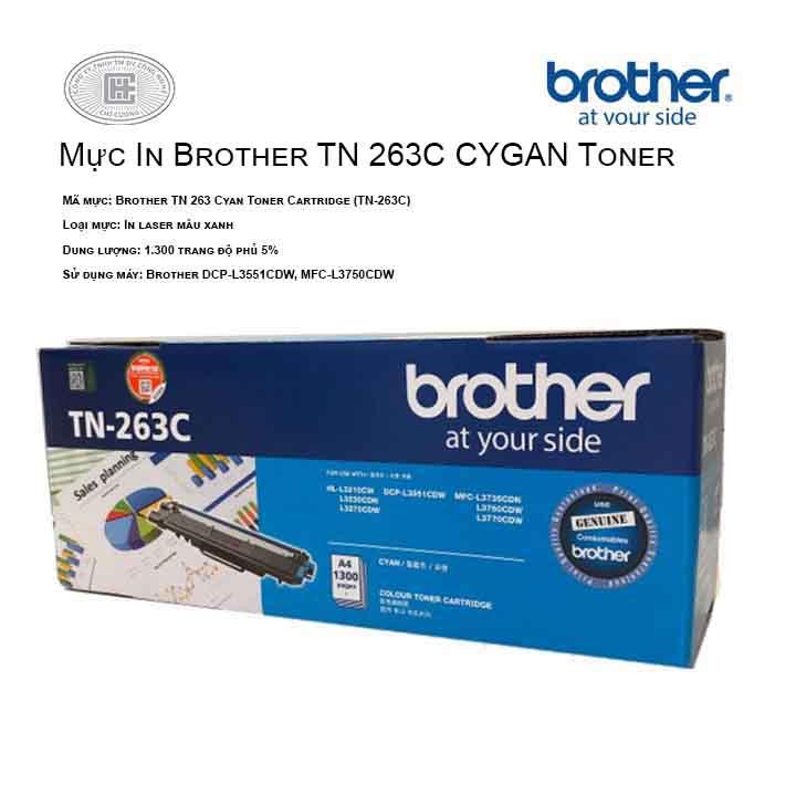 Mực in Brother TN 263C màu xanh ( cho máy HL-L3230CDN, MFC-L3770CDW, MFC-L3750CDW, DCP-L3551CDW, HL-L3270CDW )