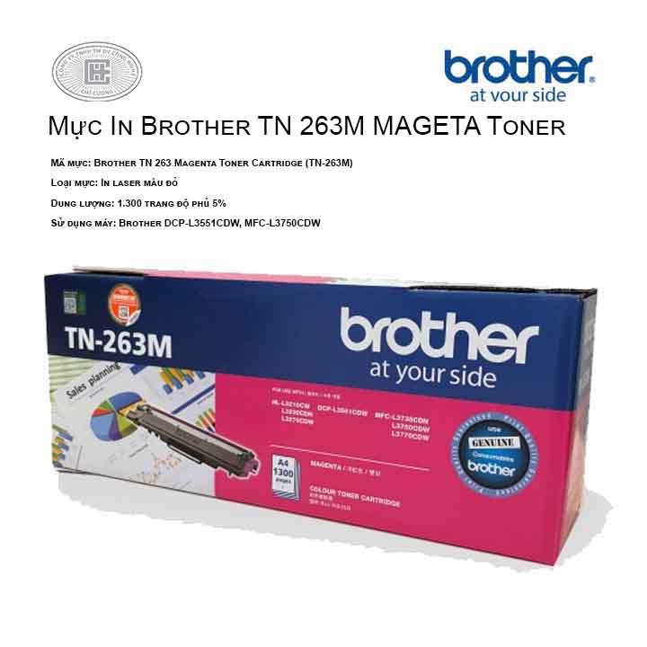 Mực in Brother TN 263M màu hồng ( cho máy HL-L3230CDN, MFC-L3770CDW, MFC-L3750CDW, DCP-L3551CDW, HL-L3270CDW )