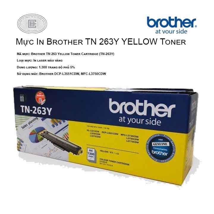 Mực in Brother TN 263Y màu vàng ( cho máy HL-L3230CDN, MFC-L3770CDW, MFC-L3750CDW, DCP-L3551CDW, HL-L3270CDW )