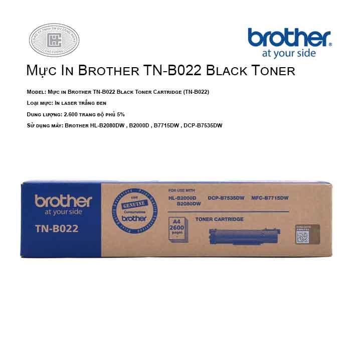 Mực in Brother TN-B022 cho máy Brother HL-B2080DW, B2000D , B7535DW ,B7715DW