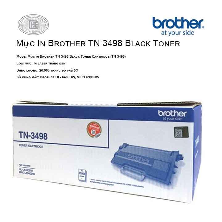 Mực in Brother TN-3498 Black Toner Cartridge (cho máy HLL6400DW, MFCL6900DW)