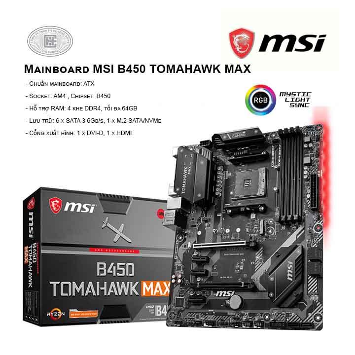 Mainboard MSI B450 TOMAHAWK MAX - SOCKET AM4