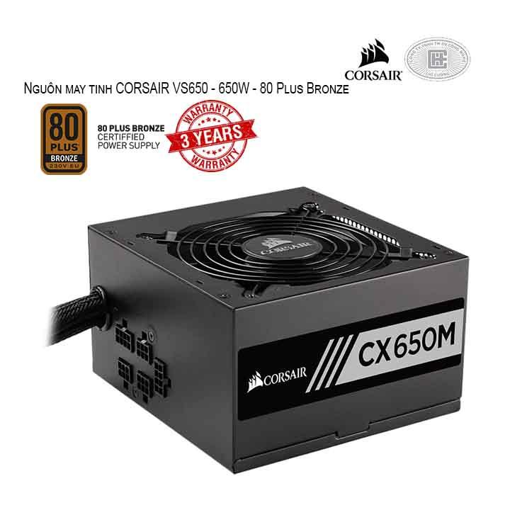 Nguồn máy tính CORSAIR CX650M - 650W - 80 Plus Bronze - Semi Modular (CCP-9020103-NA)