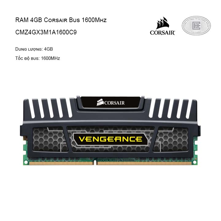 RAM CORSAIR (1 X 4GB) 4GB BUS 1600 C9 VENGEANCE - CMZ4GX3M1A1600C9