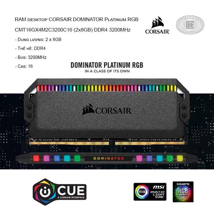 RAM desktop CORSAIR DOMINATOR Platinum RGB CMT16GX4M2C3200C16 (2x8GB) DDR4 3200MHz