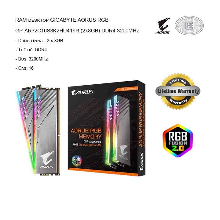 RAM GIGABYTE AORUS RGB GP-AR32C16S8K2HU416R (2x8GB) DDR4 3200MHz
