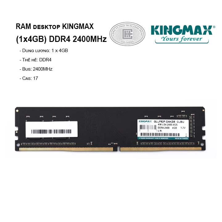 RAM PC KINGMAX 4GB Bus 2400MHz