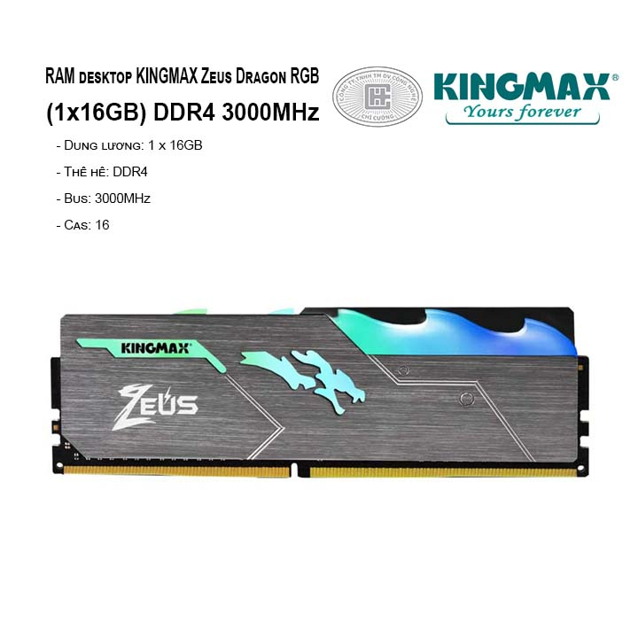 RAM PC KINGMAX Zeus Dragon RGB 16GB Bus 3000MHz