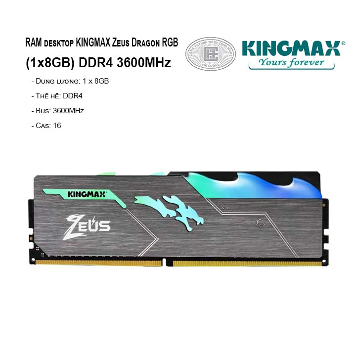RAM PC KINGMAX Zeus Dragon RGB 8GB Bus 3600MHz
