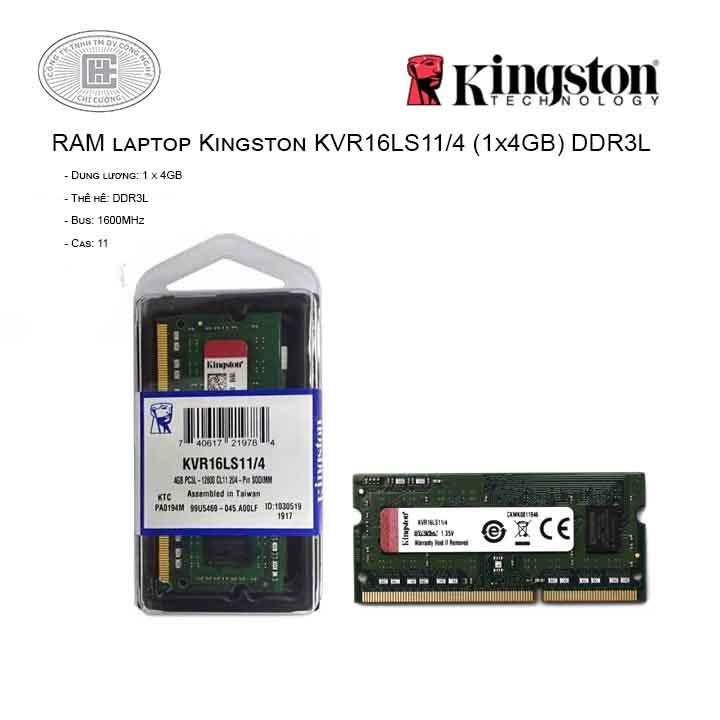RAM Laptop Kingston 4GB Bus 1600MHz - KVR16LS11/4