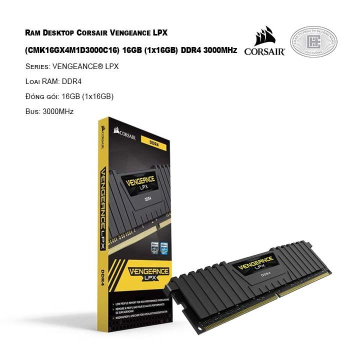 Ram Desktop Corsair Vengeance LPX (CMK16GX4M1D3000C16) 16GB (1x16GB) DDR4 3000MHz