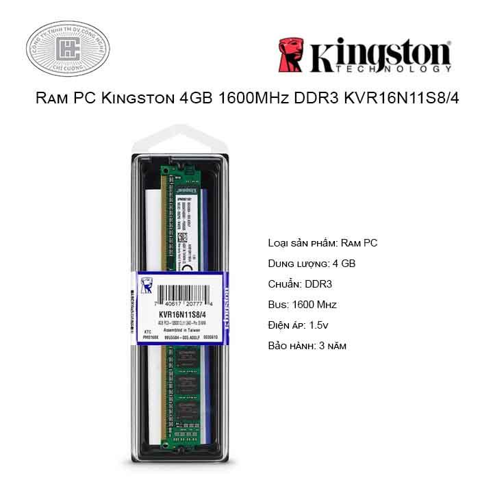 Ram PC Kingston 4GB Bus 1600MHz - KVR16N11S8/4